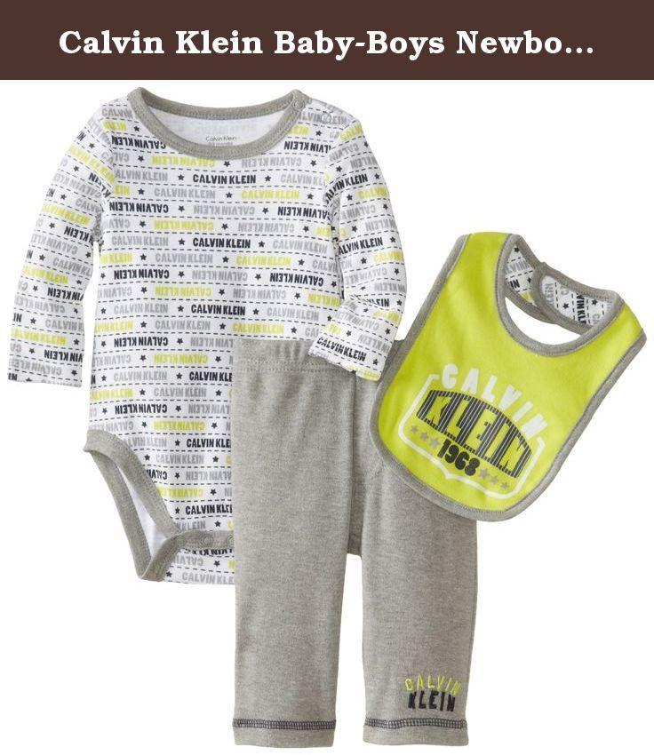 Calvin Klein Baby-Boys Newborn Printed Bodysuit with Pants and Bib, Lemon, 6-9 Months. Two-piece set.