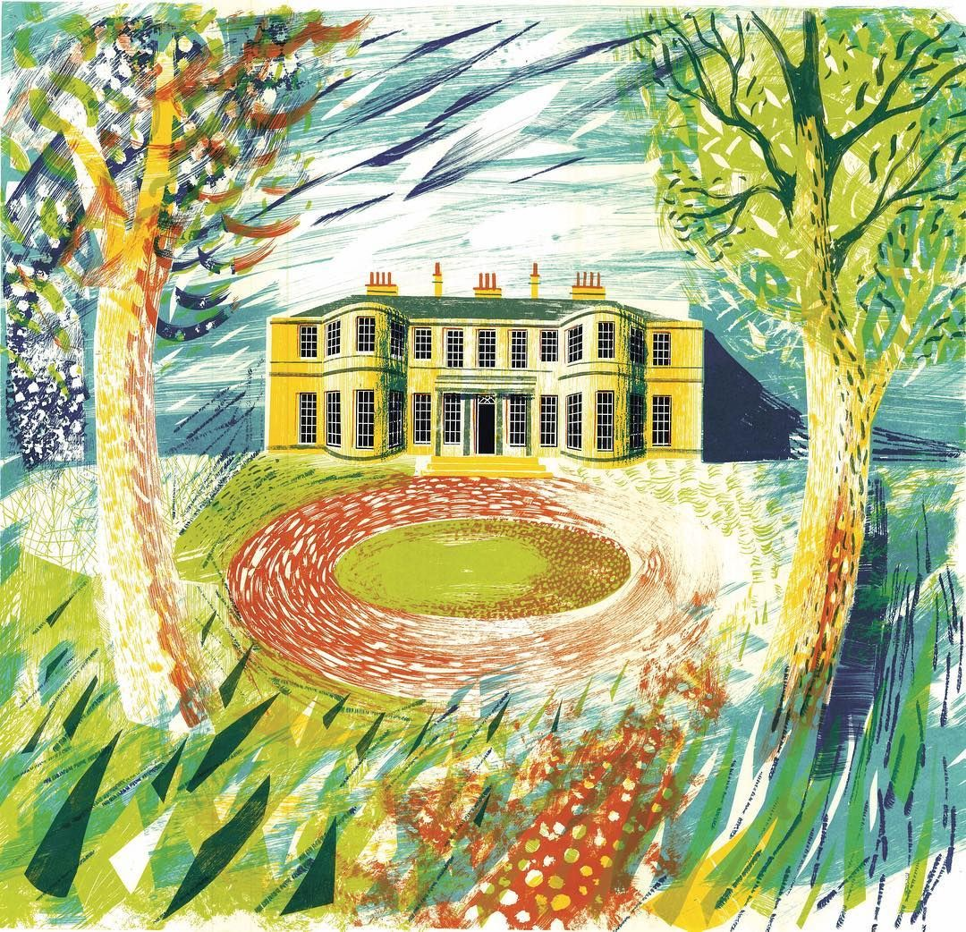 Rudding Park Yorkshire By Ed Kluz Screen Print Art Collage Illustration British Art
