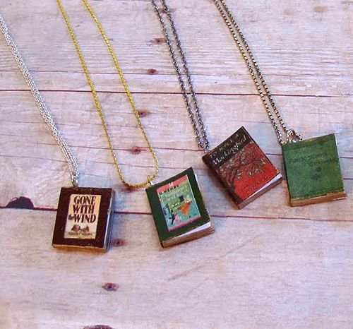 Different DIY book necklaces I want to make one of my doodles