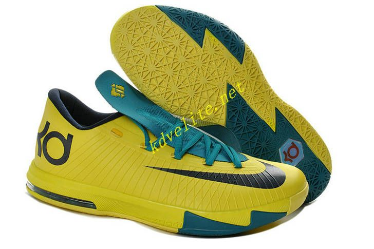 Summer Fall Chrome Yellow Nike KD VI Teal Navy 599424 700