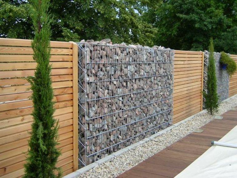 Gaviones decorativos para patios y jardines 34 ideas terrazas pinterest gaviones - Verjas de madera para jardin ...