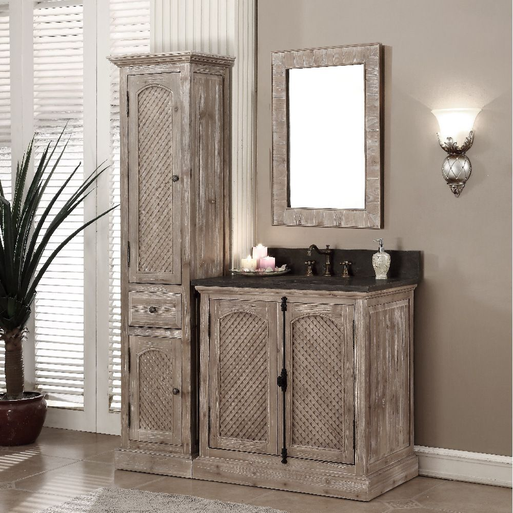 Infurniture Rustic Style Matte Ash Limestone Top 36 Inch Bathroom