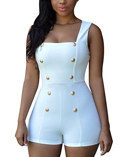 a46a9d35eb2d Cfanny Women s Pin up Square Collar Mini Romper Playsuit ... http