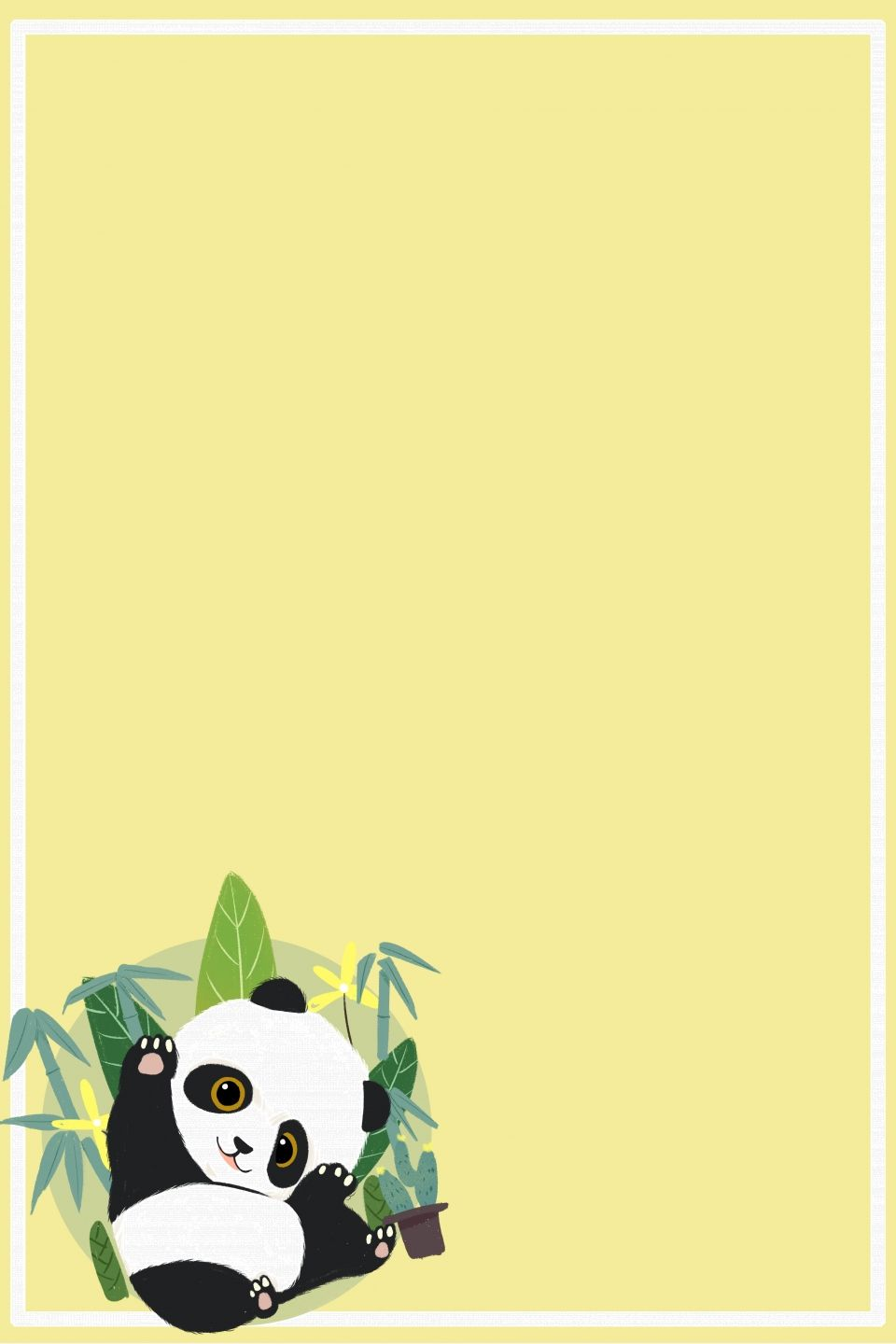Cute Children S Solid Color Panda Background Border Panda Background Cute Panda Wallpaper Panda Wallpapers