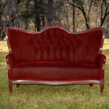 Red Velvet Tufted Sette Victorian Couch Vintage Couch Vintage