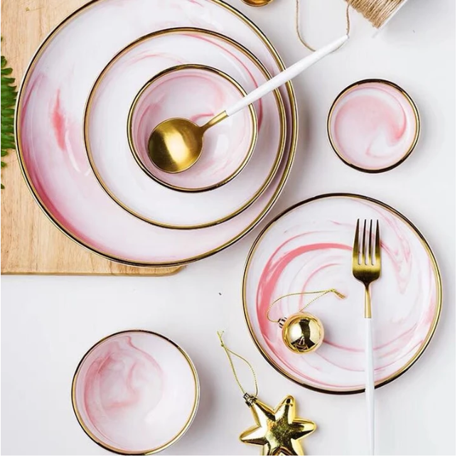 Cute Plates Cotton Candy Dinnerware Set Ceramic Tableware Ceramic Dinnerware Marble Ceramics