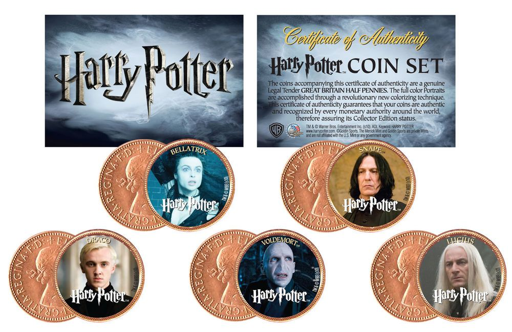 Harry Potter Officially Licensed Uk British Half Penny Coins 5 Coin Set Villians Harry Potter Villains Coin Set Coin Collecting Books