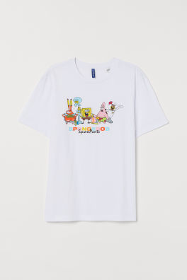 Playera Estampada Blanco Spongebob Squarepants Men H M Us En 2020 Playera Estampadas Camisas Estampadas Camiseta Estampada