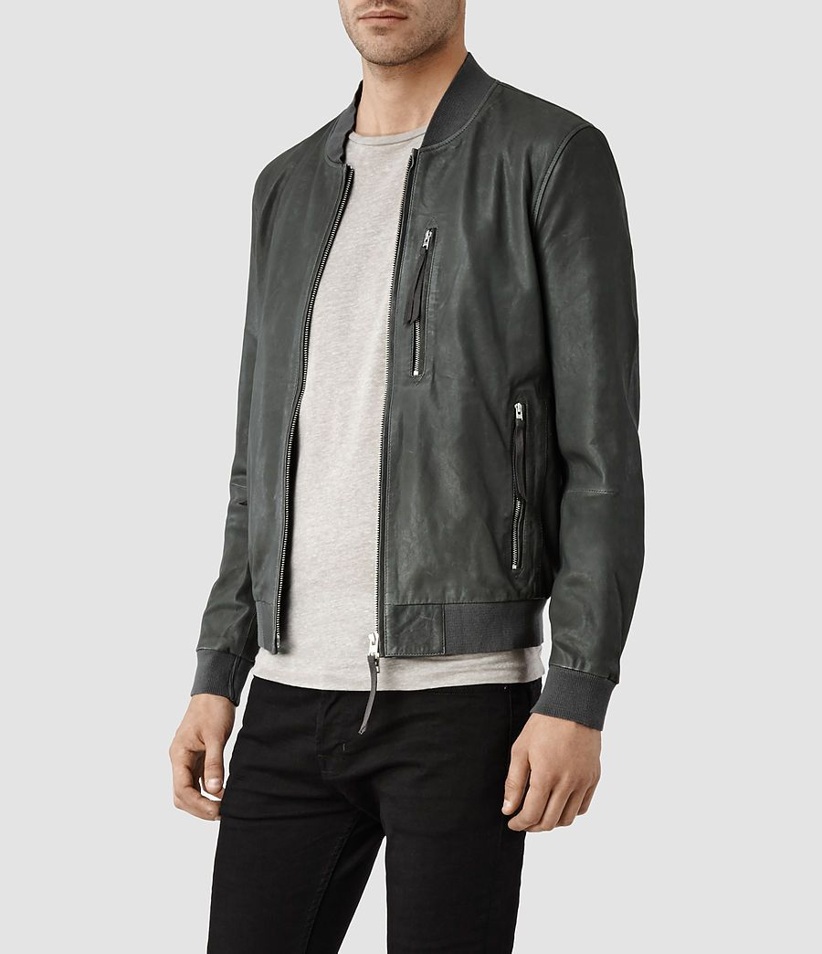 Mens Blythe Leather Bomber Jacket (Slate Grey) | ALLSAINTS.com ...