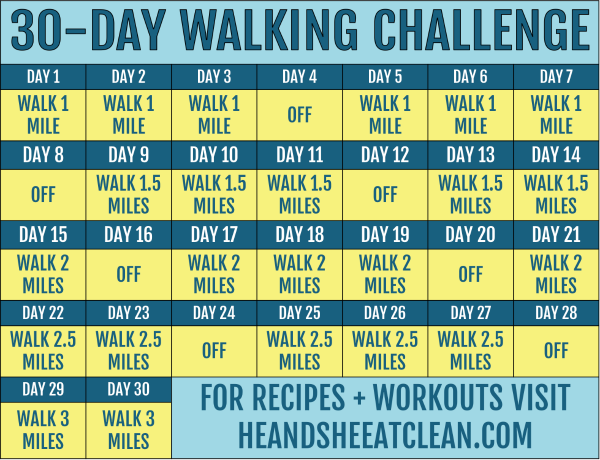 30-Day Walking Challenge with Printable Tracking Chart - Kara Applegate - 30-Day Walking Challenge w...