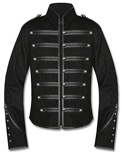 Men Gothic Military Jacket Band Steampunk Handmade Army Vintage Jacket 100/% Cott
