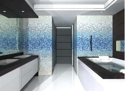 Love The Gradient And Unexpected Color. Oh Mosaic Glass Tile, Why Must You  Cost · Blue Gray BathroomsMaster ...