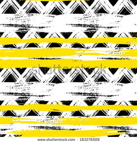 Vector seamless ethnic pattern with bold zigzag brushstrokes and stripes in bright colors