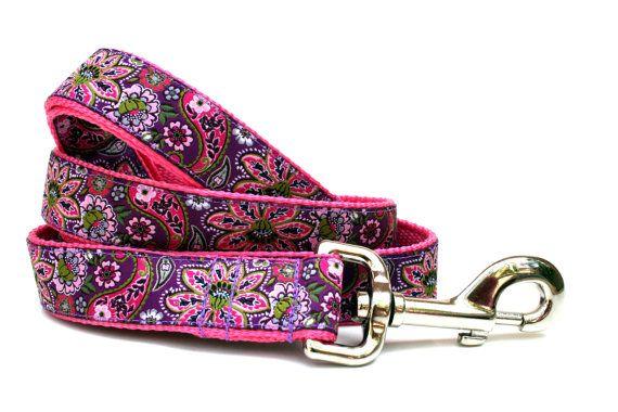 Purple Dog Leash 1 wide Paisley Dog Leash by Dogologie on Etsy, $28.00