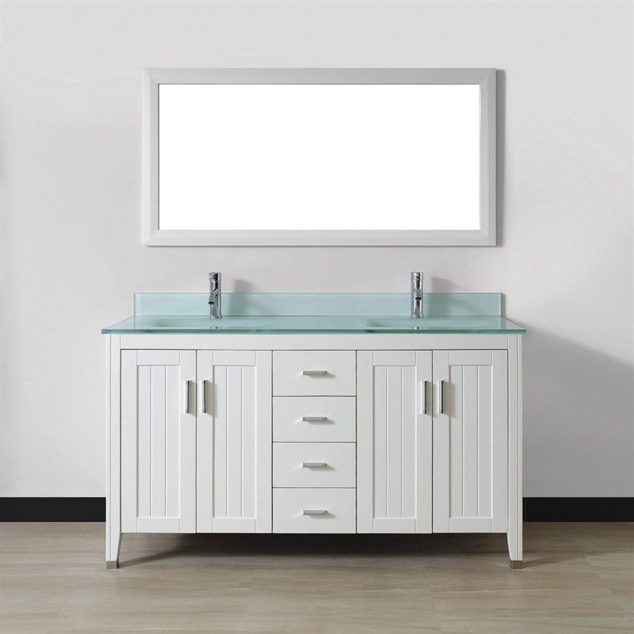 Spa Bathe Jaq White Integrated Double Sink Bathroom Vanity With Gl Top Common 60