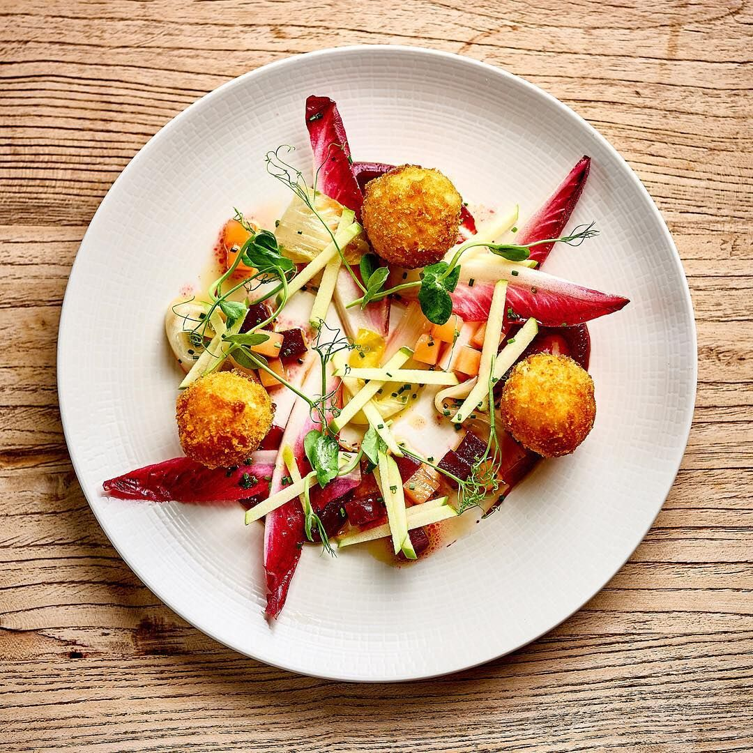 Goats cheese, truffle arancini, chicory, beetroot & apples  @port_gaverne_hotel Photography David Griffen