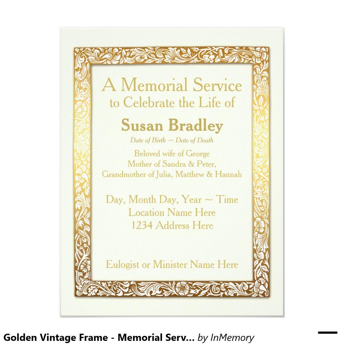 Golden Vintage Frame Memorial Service Invitation