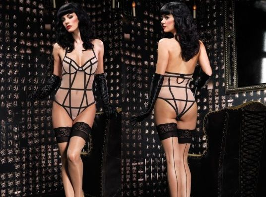 Body Nude Com Tiras Pretas | LaLoïe Corseterie