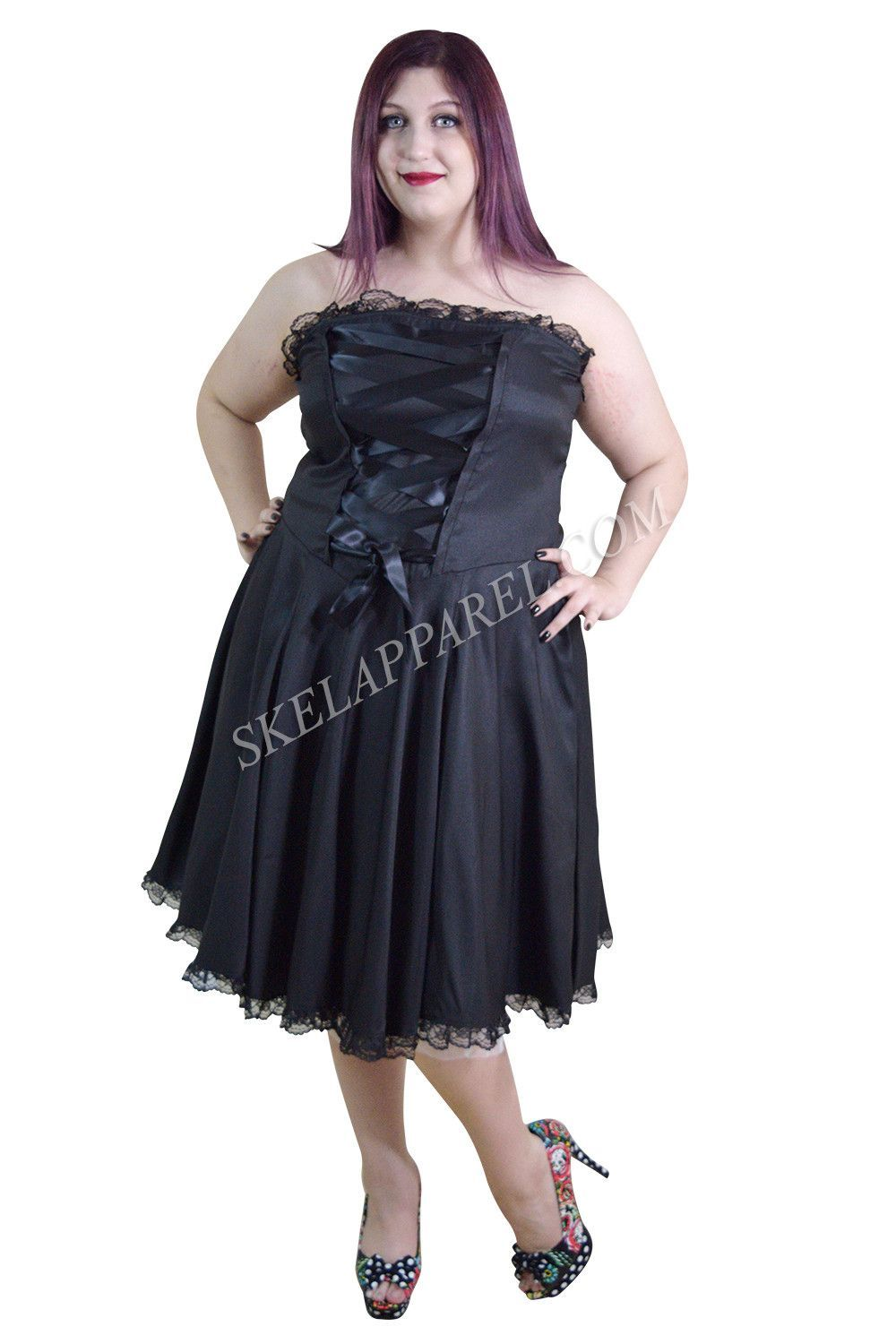 741272fafdf2 Plus Size Gothic Rockabilly Black Satin Corset Lace-up Dress Bridesmaid  Dresses Under 50,