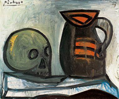 Pablo Picasso -Nature morte au crâne et au pichet, 1943, huile sur ...