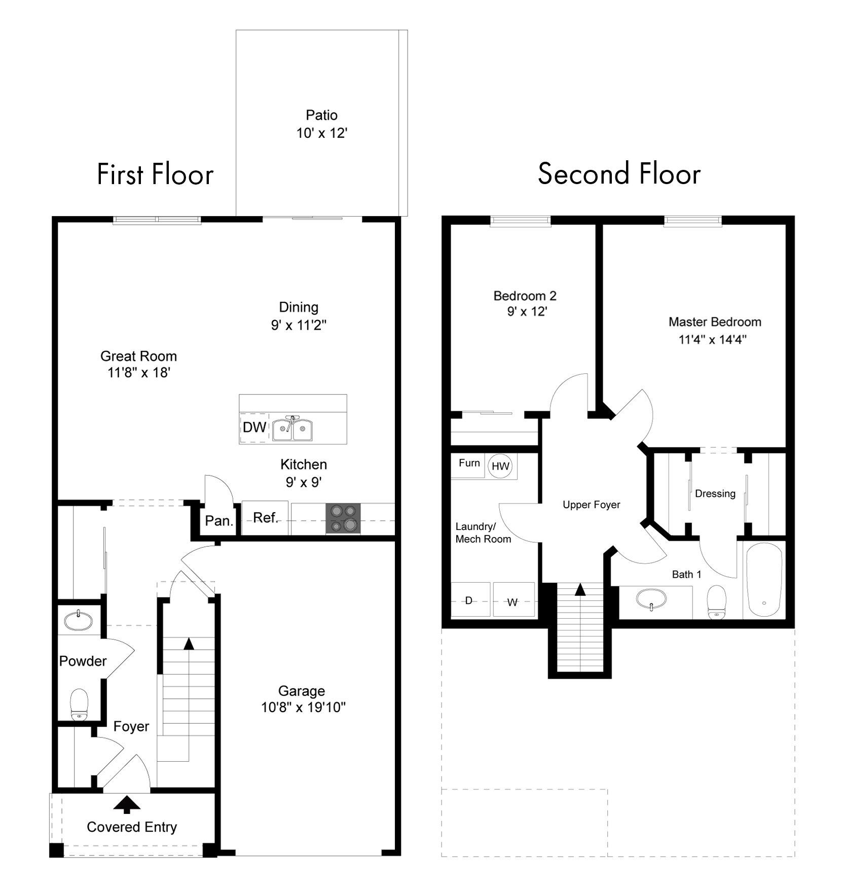 2 bedroom townhouse plan Google Search in 2020 How to