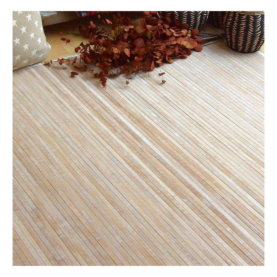 Alfombra de bambú para salón o dormitorio rosa y marrón