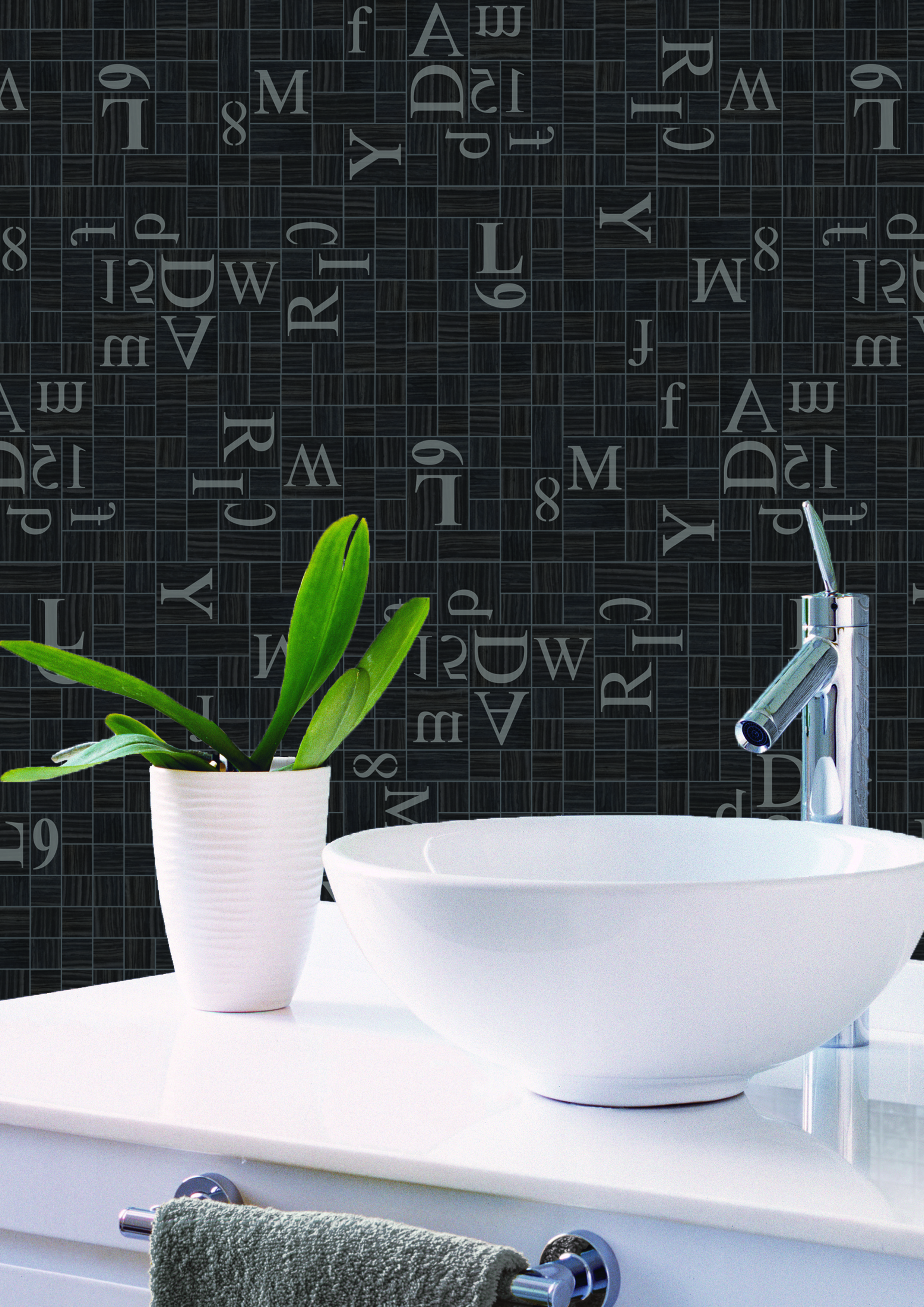 Re Use Marble Nero Tungesteno Mosaic Alphabet 294x294 Splashback
