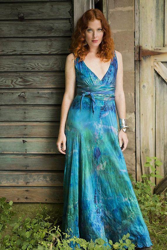 regular price of 1,195 Blue silk boho mother of the