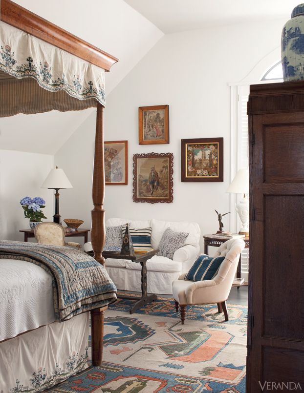 design bedroom%0A Slipper chair and tea table  Rosselli  Vintage rug  Antique bed and  needlepoint art