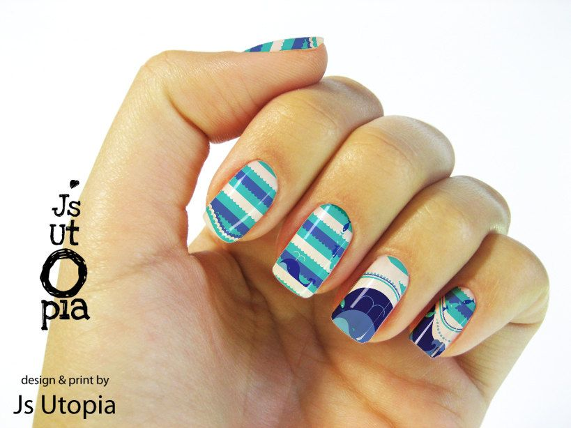 Whale Watching Full Nail Transfer Stickers | Uñas | Pinterest | Nail ...
