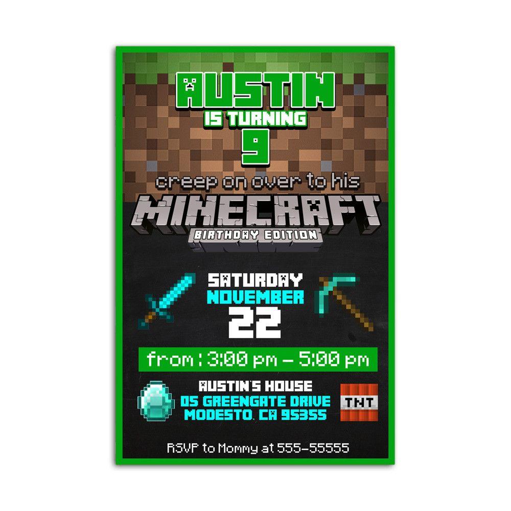 Minecraft Edition Kids Birthday Invitation Party Design   Printable ...
