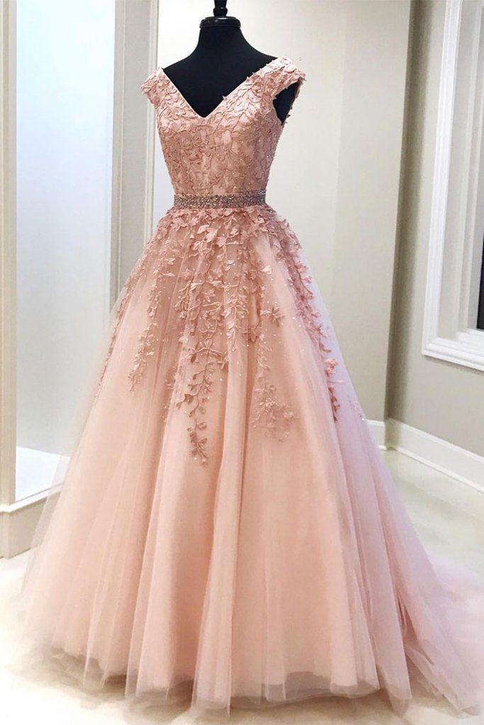 Pink v neck tulle lace long prom dress