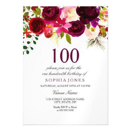 100th birthday party invite burgundy floral boho magnetic 100th birthday party invite burgundy floral boho magnetic card burgundy style stylish cyo diy customize filmwisefo