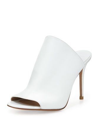 Burnett Leather Mule Slide, Optic White by Michael Kors at Neiman Marcus.