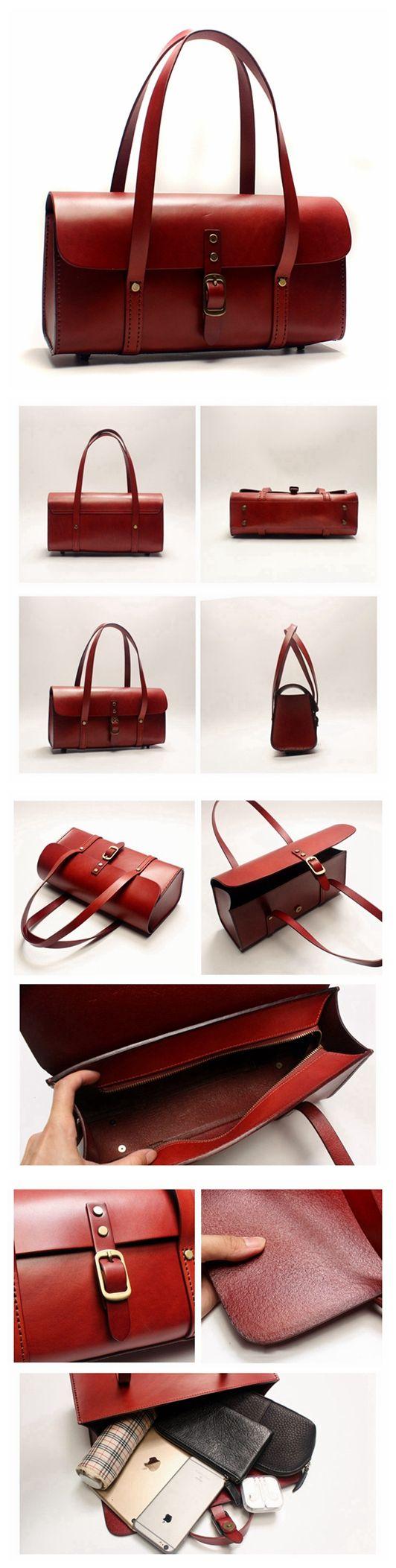 Handmade Awesome Vegetable Tanned Leather Barrel Bag Women s Fashion  Handbag Shoulder Bag in Red SQ05--LISABAG c1be6ff44e