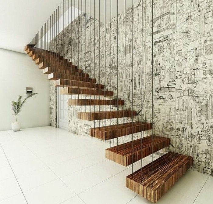 l 39 escalier moderne en 110 photos magnifiques escalier flottant escaliers modernes et escalier. Black Bedroom Furniture Sets. Home Design Ideas