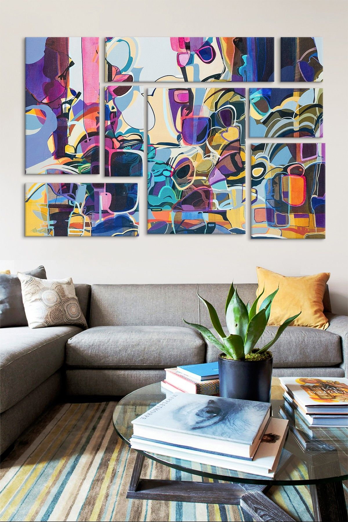 Violet panel sectional wall art art painting abstracts and