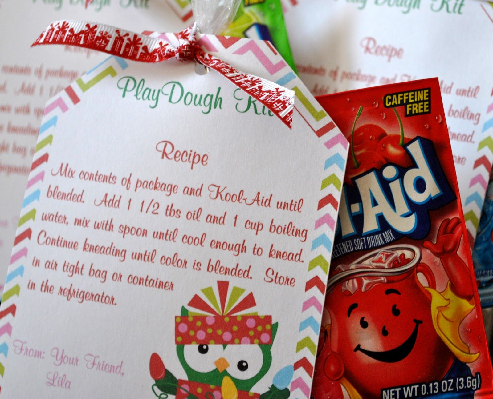 Sunla Designs Freebies Kool Aid Play Dough Kit Printable Christmas Goody