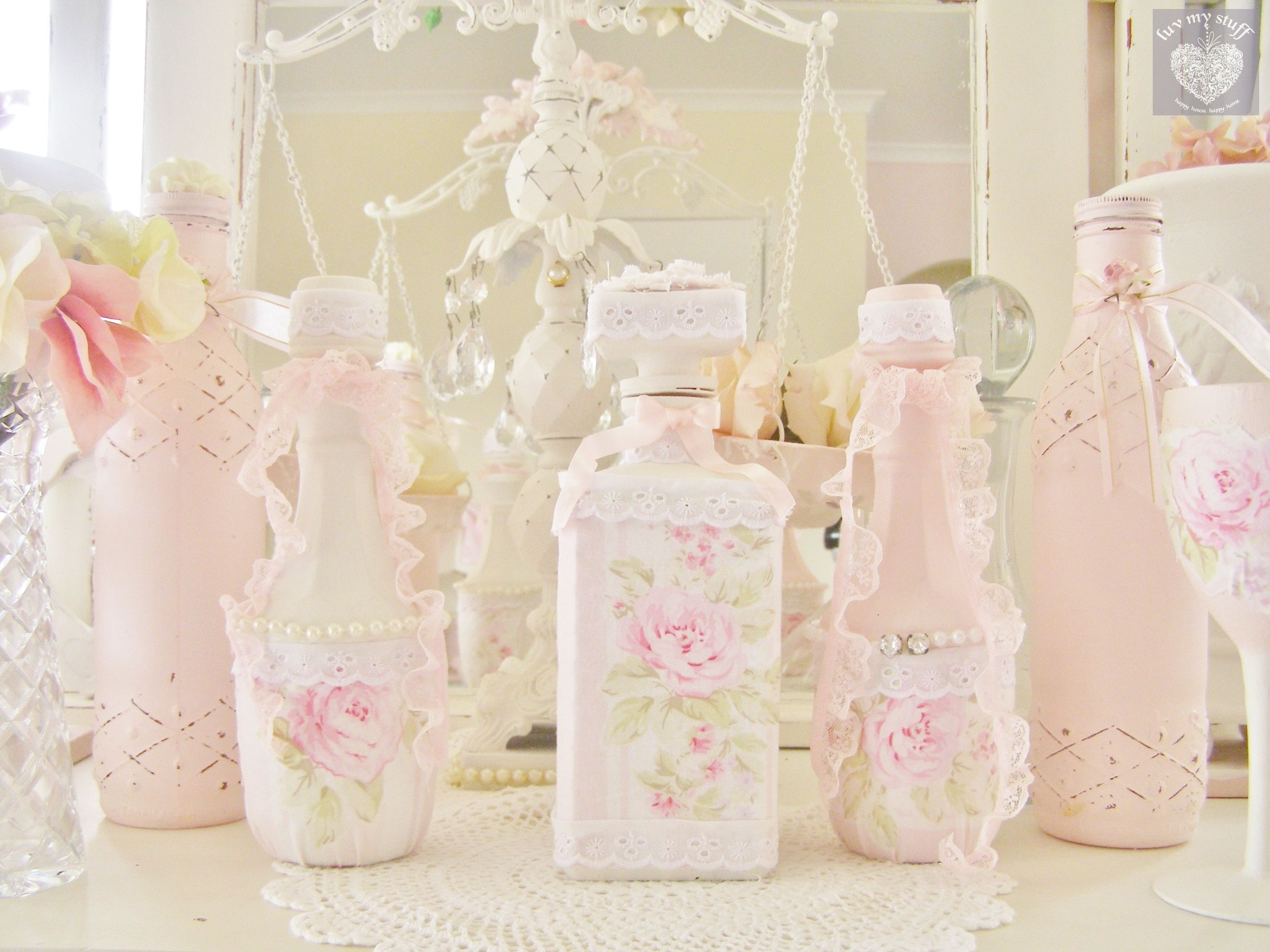 romantic shabby chic painted white and pink decorated
