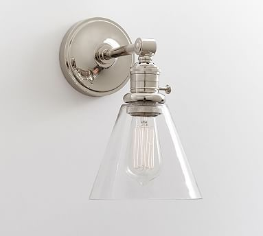 Custom Straight Arm Flared Glass Sconce Bathroom Sconces Bathroom Wall Sconces Bathroom Sconce Lighting