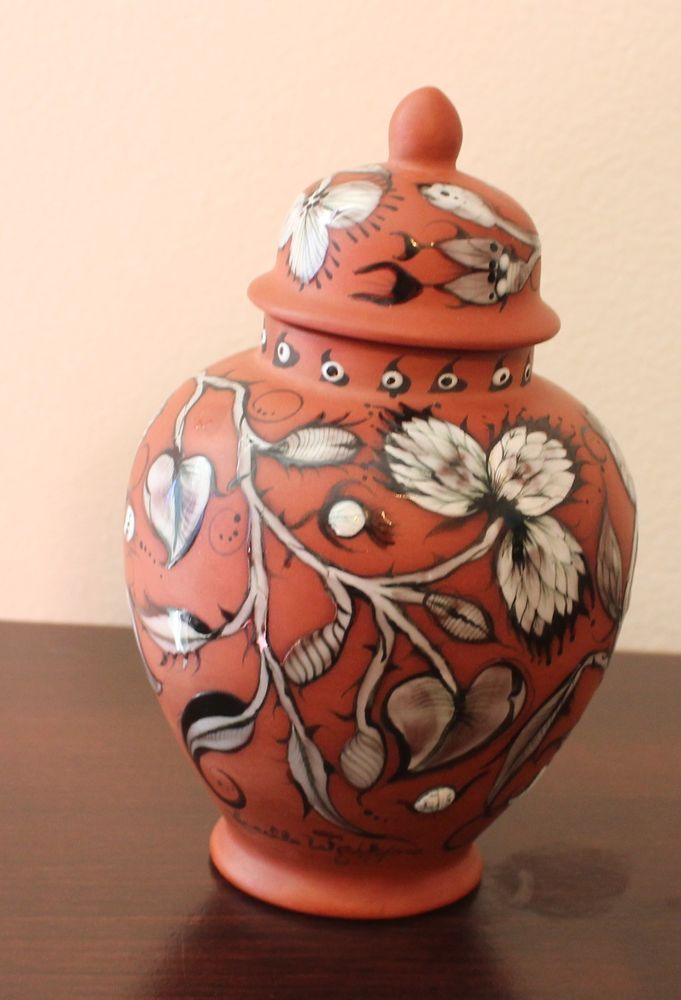 Rare Lucille #Watkins Art Ceramic Ginger Jar Terra Cotta Glaze Flowers Signed