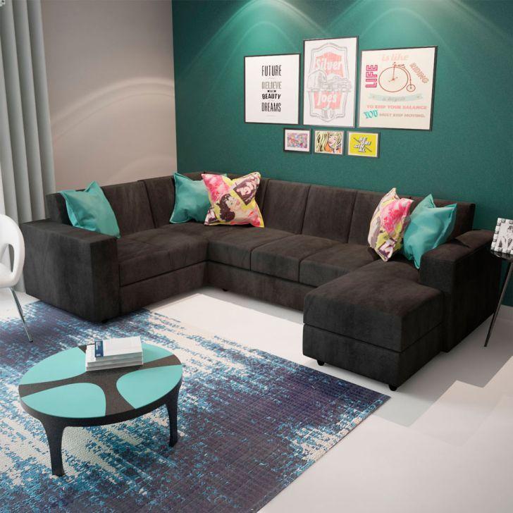 Sofá De Canto 6 Lugares Com Chaise Astor Suede Cinza Sofa Couch