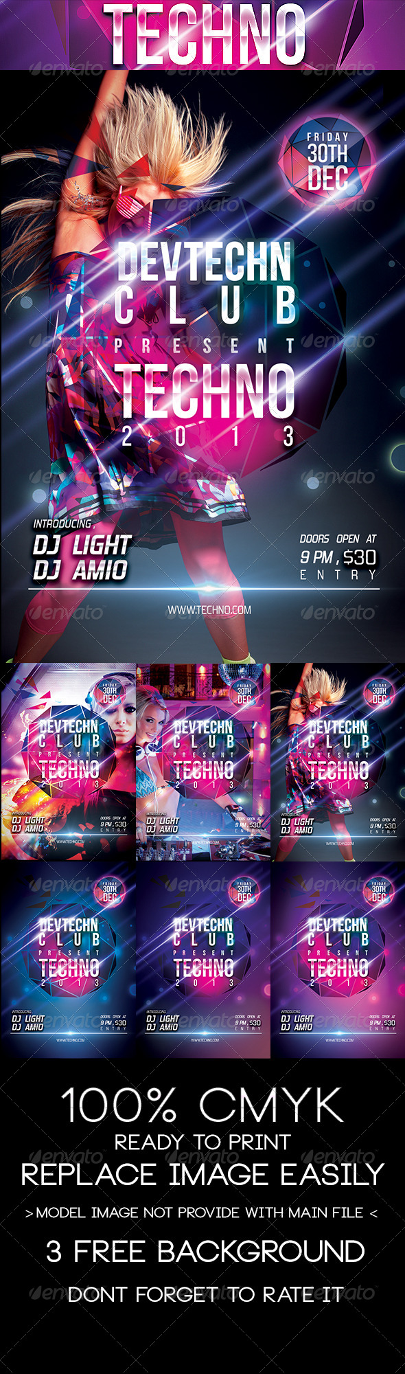 Techno Party Flyer Templates  Afanur Rashid    Techno