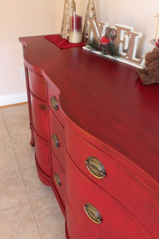 Red Paint Lightly Sand Wood Stain Wiped On Then Off Poly Finish Red Wood Stain Red Painted Furniture Painted Red Dresser