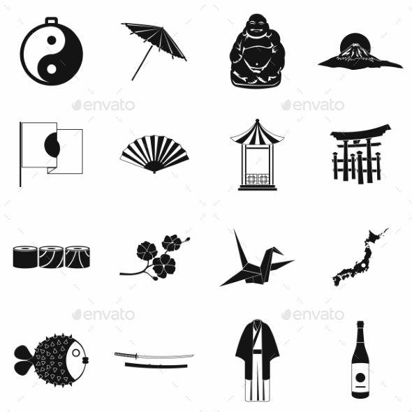 Japan Icons Set Black Japan Icon Icon Design Inspiration Pictogram Design