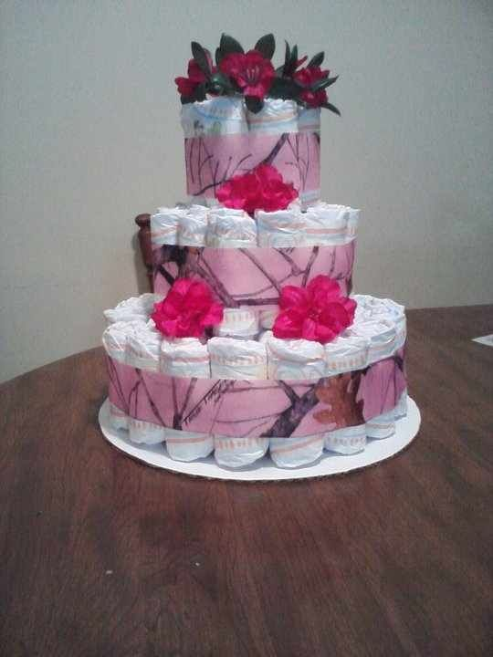 Pink Camo Diaper Cake With Images Pink Camo Baby Shower Ideas