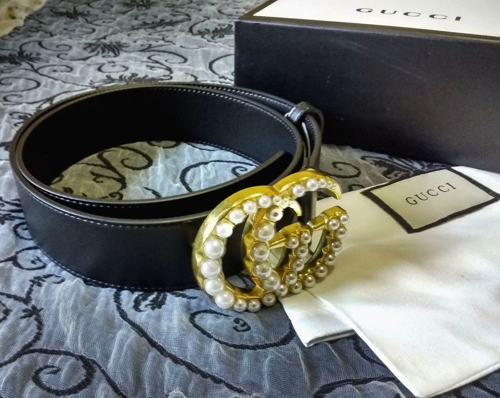 4d58d60c109ed NEW GUCCI DOUBLE G PEARL Authentic Leather Black Belt 30-34   80 cm   fashion  clothing  shoes  accessories  womensaccessories  belts (ebay link)