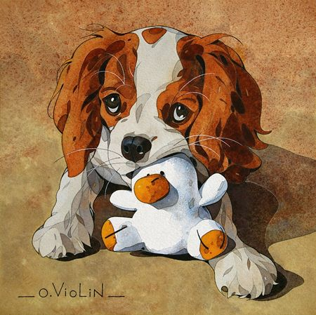 Aquarelle dessin paysage marine voilier pin up chaton bretagne cavalier king charles - Dessin cavalier ...