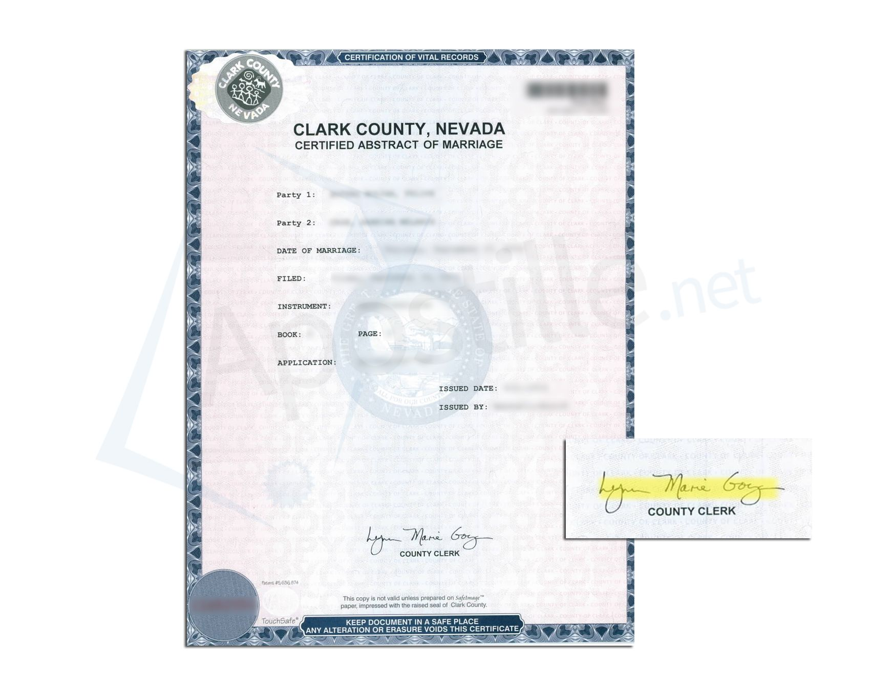 Clark County State Of Nevada Certificate Abstract Of Marriage