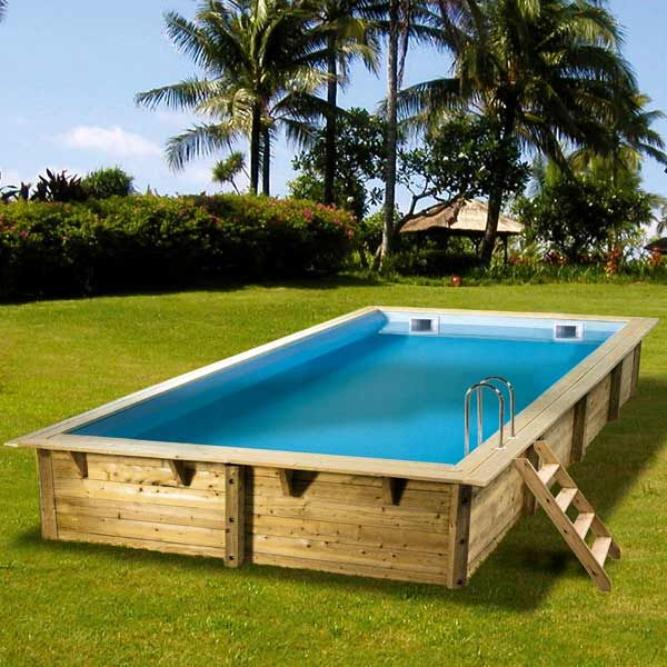 piscine hors sol bois rectangulaire 350x650 linea liner bleu 75100 maison facile - Liner Piscine Hors Sol Ronde 75 100